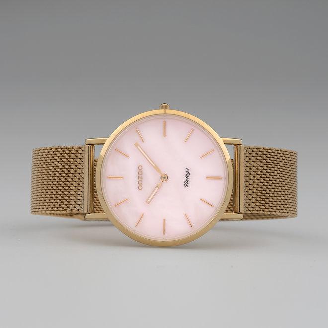 Vintage series - dames - mesh band rosé goud met rosé goud horlogekast