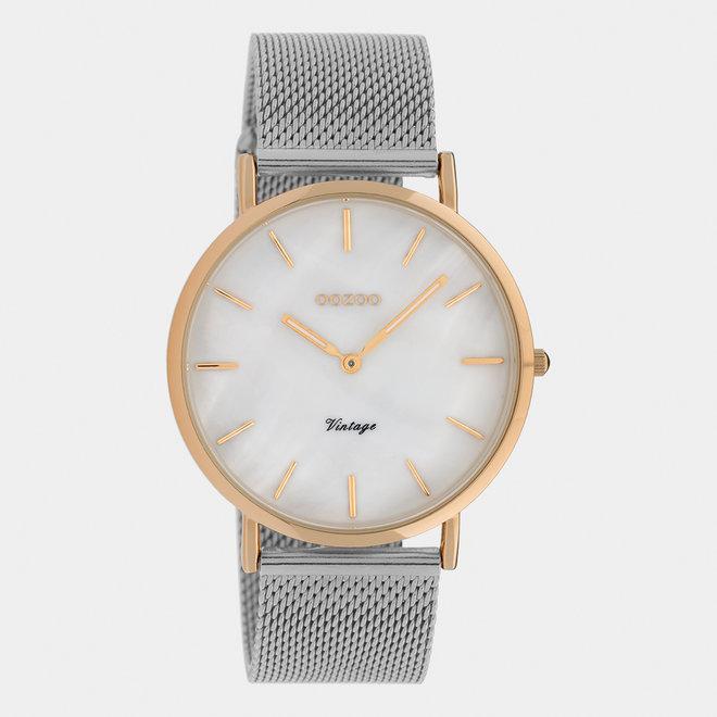 Vintage series - dames - mesh band zilver met rosé goud horlogekast