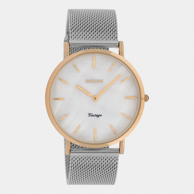 Vintage series - ladies - mesh strap silver with rose gold watch case