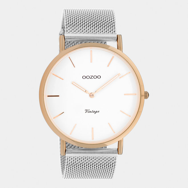 Vintage series - unisex - mesh strap silver with rose gold watch case