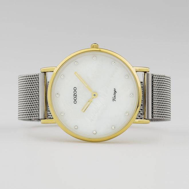 Vintage series - femmes - bracelet en mesh argent avec or