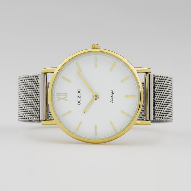 Vintage series - unisex - mesh strap silver  with gold  watch case