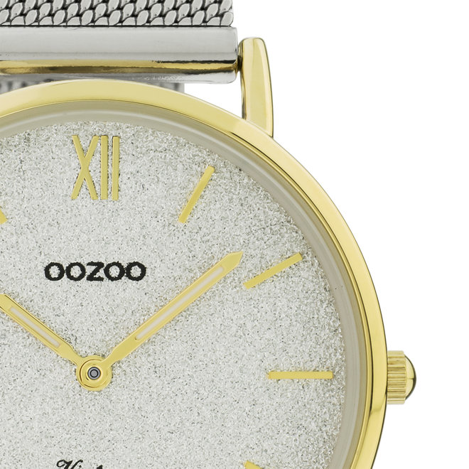 Vintage series - dames - mesh band zilver  met goud  horlogekast