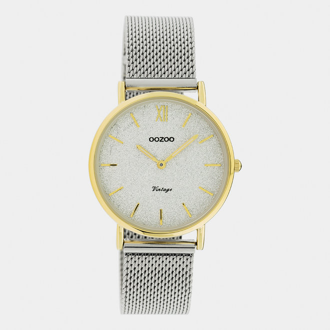 Vintage series - ladies - mesh strap silver  with gold  watch case