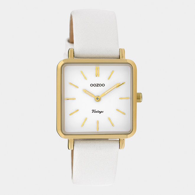 Vintage series - ladies - leather strap pearl white  with gold  watch case