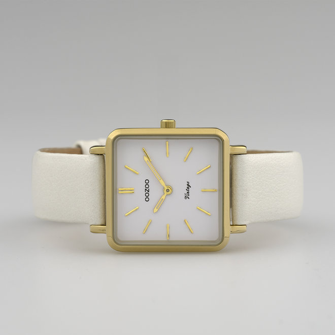 Vintage series - femmes - bracelet en cuir perle blanche avec or