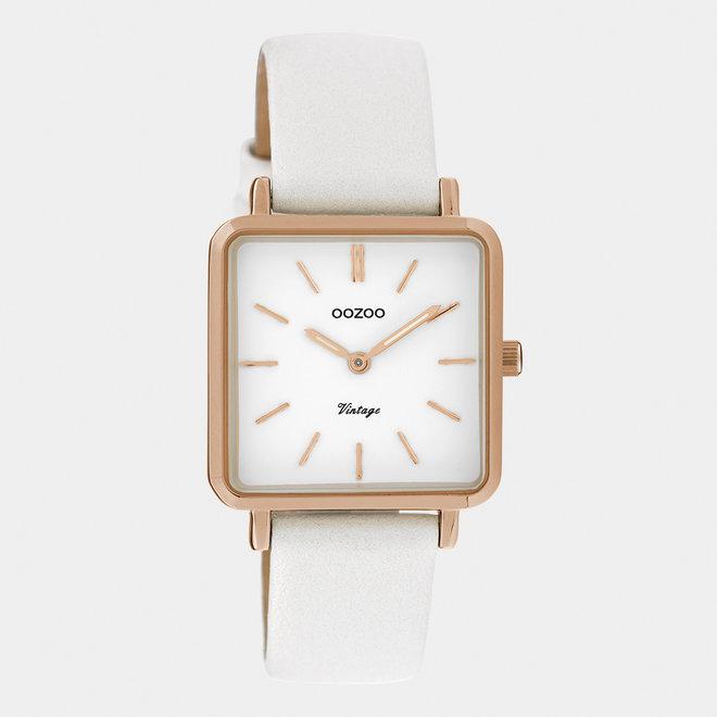 Vintage series - dames - leren band parel wit  met rosé goud  horlogekast