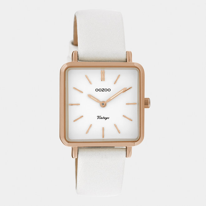 Vintage series - ladies - leather strap pearl white  with rose gold  watch case