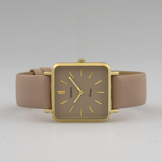 Vintage series - dames - leren band rozegrijs  met goud  horlogekast