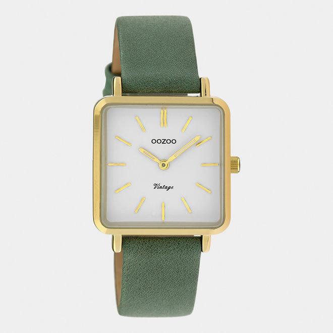 Vintage series - femmes - bracelet en cuir vert granit / or