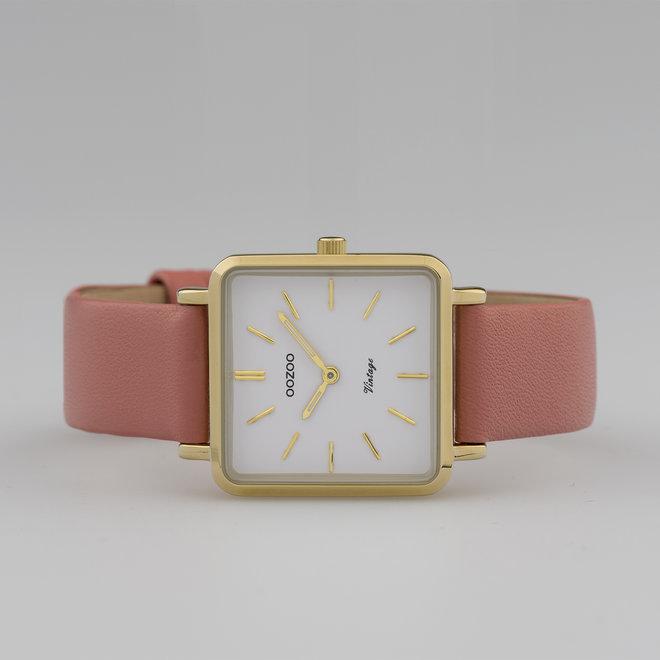 Vintage series - dames - leren band perzik roze  met goud  horlogekast