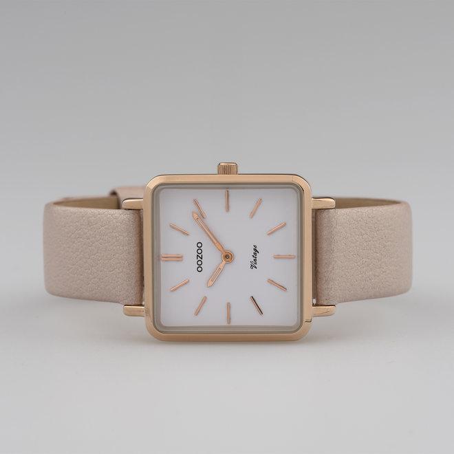 Vintage series - dames - leren band zacht roze  met rosé goud  horlogekast