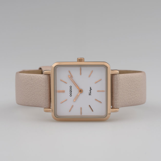 Vintage series - ladies - leather strap soft pink  with rose gold  watch case