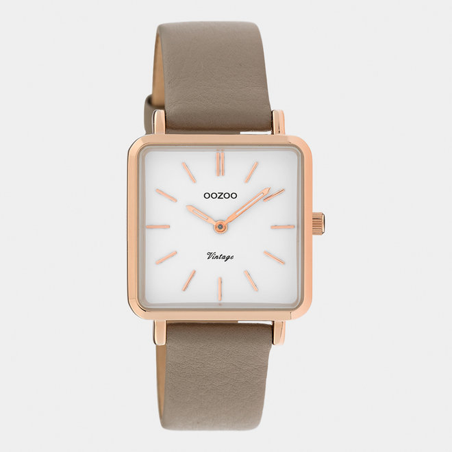 Vintage series - ladies - leather strap taupe  / rose gold