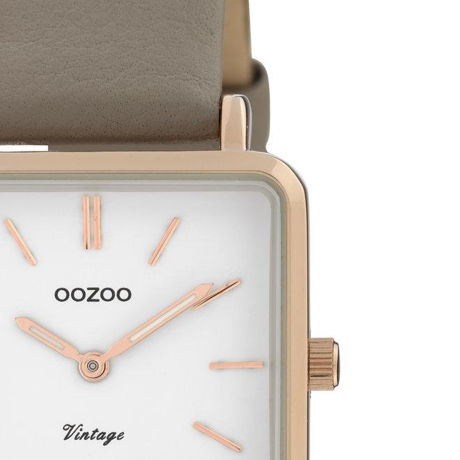 Vintage series - dames - leren band taupe  met rosé goud  horlogekast