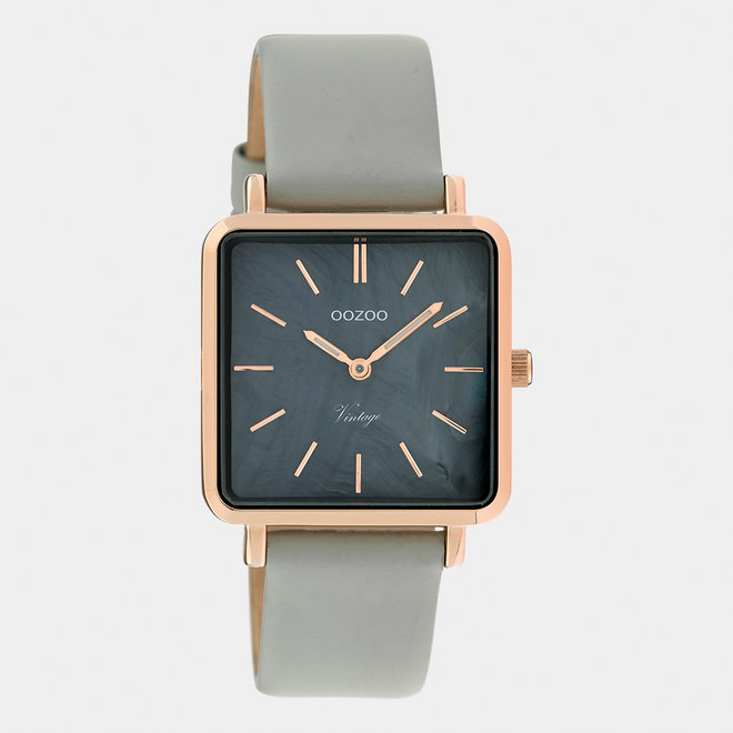 Vintage series - ladies - leather strap stone grey  / rose gold