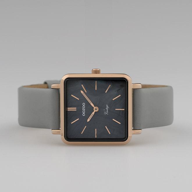 Vintage series - dames - leren band stone grijs  met rosé goud  horlogekast