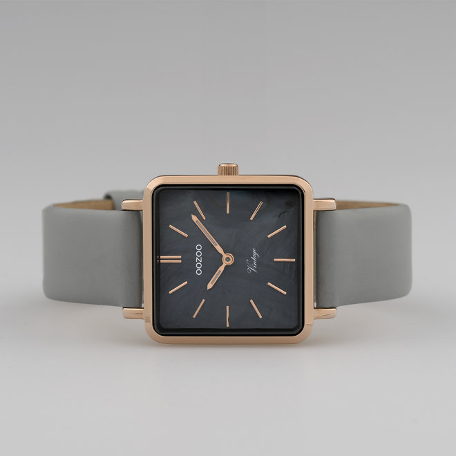 Vintage series - ladies - leather strap stone grey  with rose gold  watch case