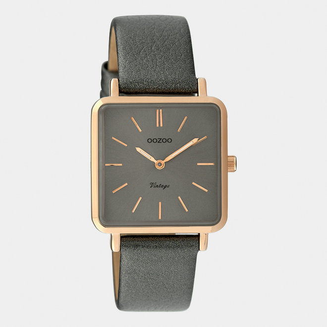 Vintage series - ladies - leather strap silver grey  / rose gold
