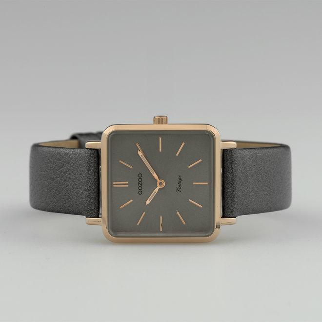 Vintage series - dames - leren band zilver grijs  met rosé goud  horlogekast