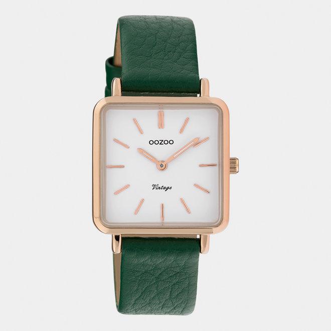 Vintage series - femmes - bracelet en cuir vert foncé / or rose