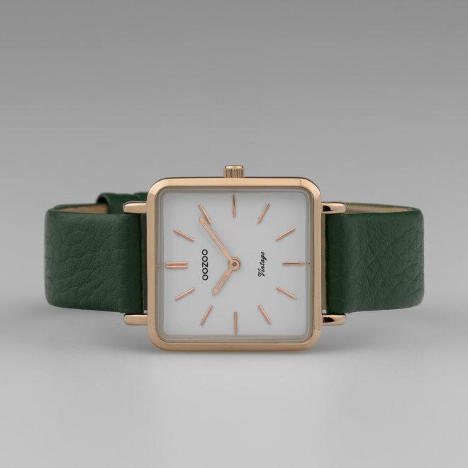 Vintage series - femmes - bracelet en cuir vert foncé avec or rose