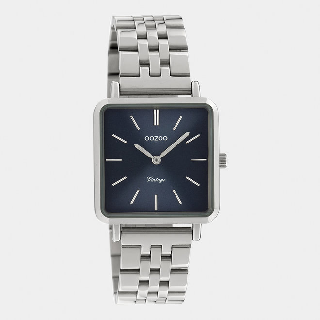 Vintage series - dames - stainless steel armband zilver  met zilver  horlogekast