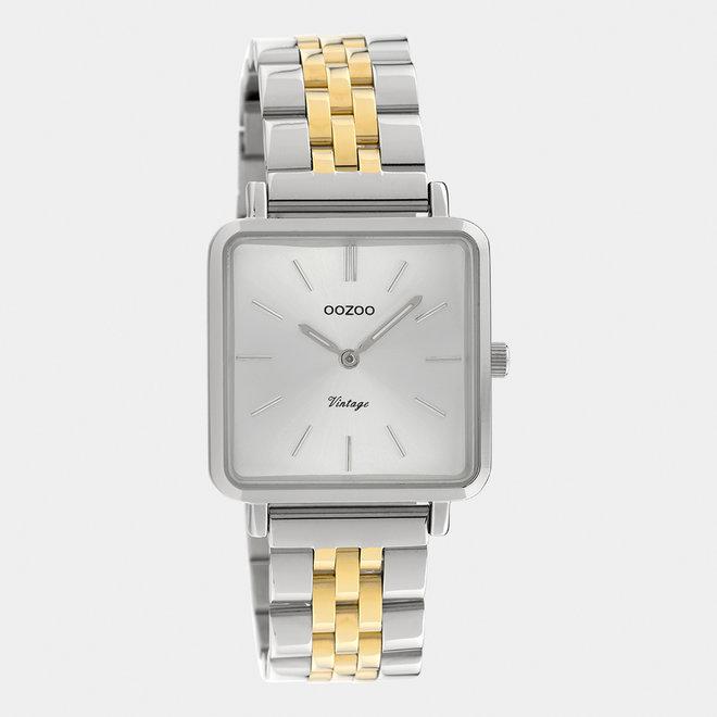 Vintage series - dames - stainless steel armband zilver-goud / zilver
