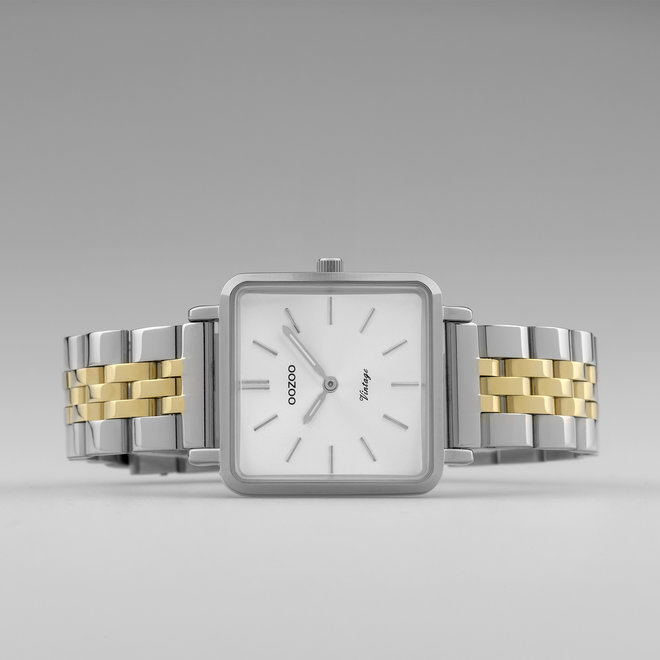 Vintage series - dames - stainless steel armband zilver-goud met zilver  horlogekast