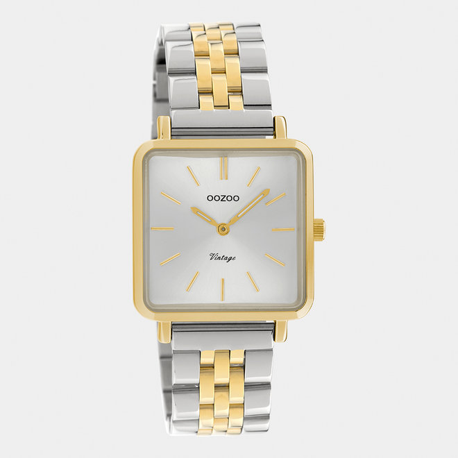 Vintage series - dames - stainless steel armband zilver-goud met goud  horlogekast
