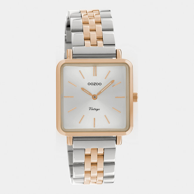 Vintage series - ladies - stainless steel bracelet silver-rose gold with rose gold  watch case