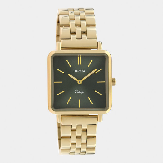 Vintage series - ladies - stainless steel bracelet gold  with gold  watch case