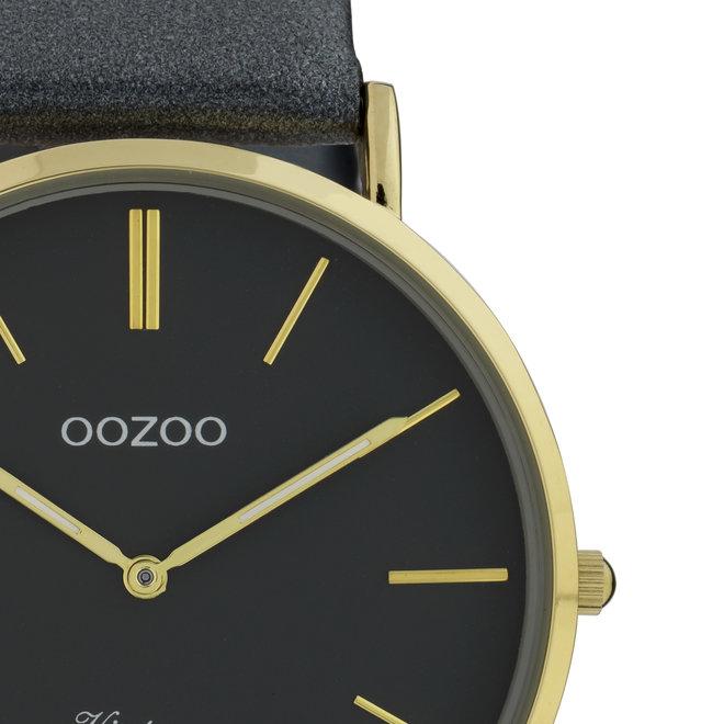 Vintage series - unisex - leren band nacht blauw  met goud  horlogekast
