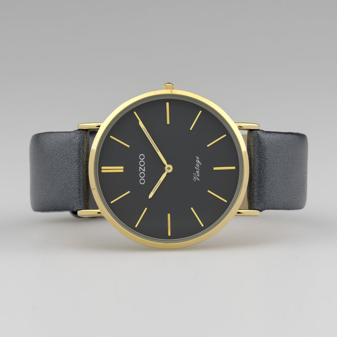 Vintage series - unisexe - bracelet en cuir bleu nuit avec or
