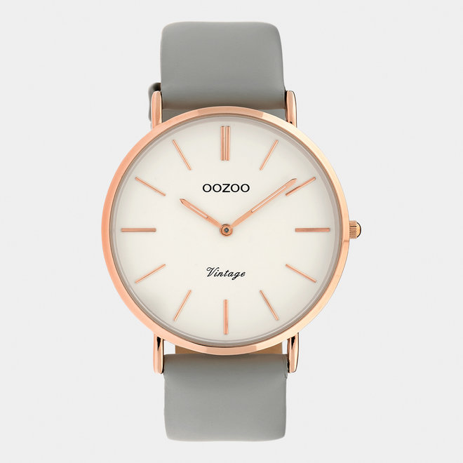 Vintage series - ladies - leather strap grey  with rose gold  watch case