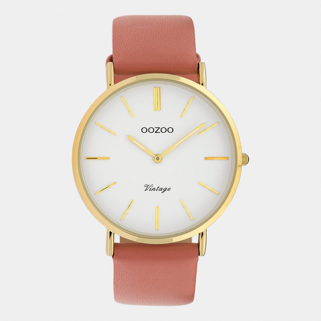 Vintage series - ladies - leather strap peach pink  / gold