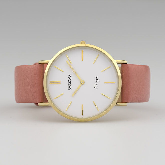 Vintage series - ladies - leather strap peach pink  with gold  watch case