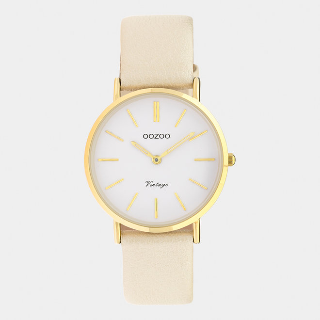 Vintage series - ladies - leather strap gold  / gold