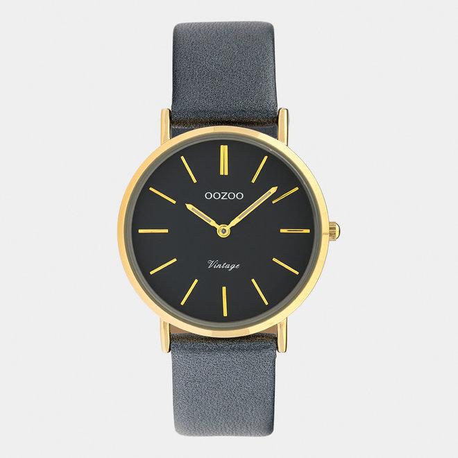 Vintage series - dames - leren band nacht blauw  met goud  horlogekast