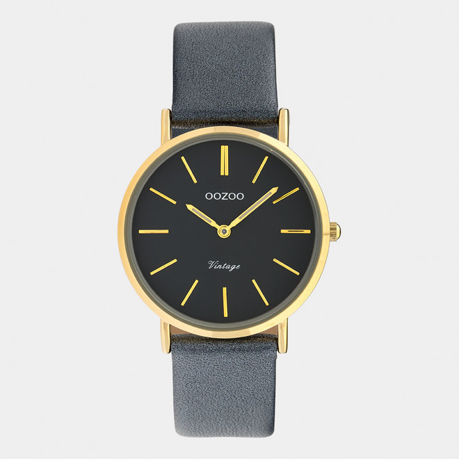 Vintage series - ladies - leather strap night blue  with gold  watch case