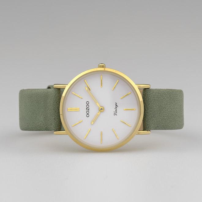 Vintage series - dames - leren band graniet groen  met goud  horlogekast