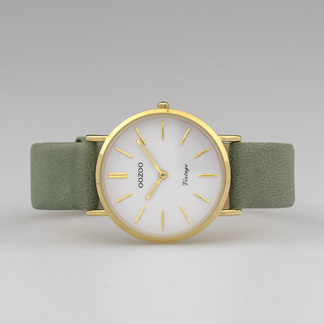 Vintage series - ladies - leather strap granite green  with gold  watch case