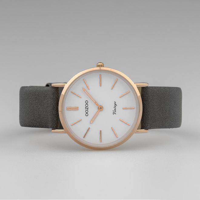 Vintage series - dames - leren band olifant grijs met rosé goud  horlogekast