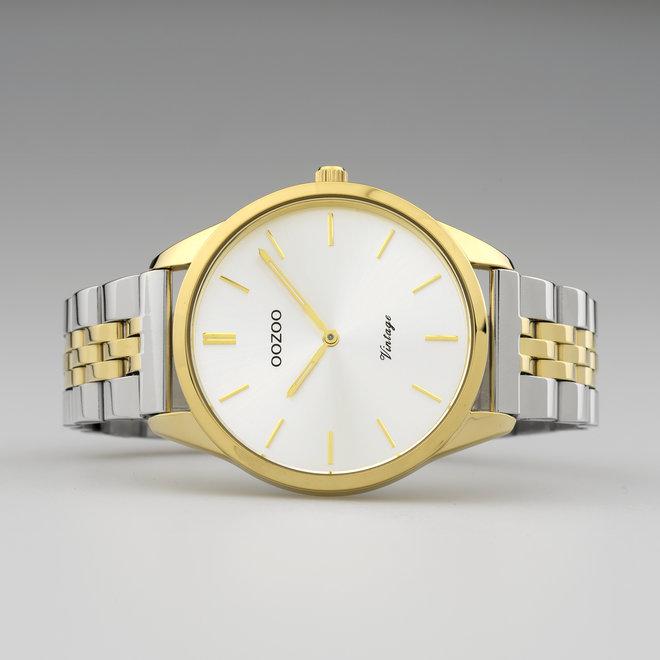 Vintage series - unisex - stainless steel armband zilver-goud  met goud horlogekast