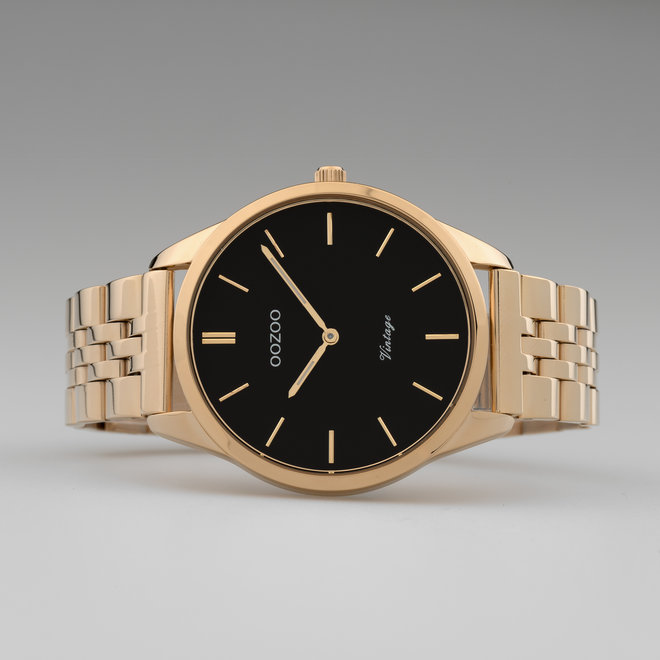 Vintage series - unisex - stainless steel bracelet rose gold  with rose gold  watch case