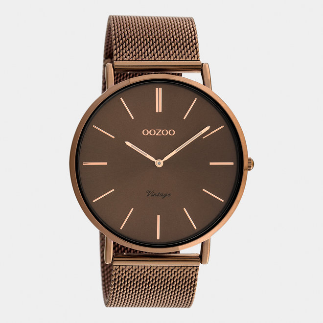 Vintage series - unisex  - mesh strap brown  with brown  watch case
