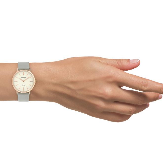 Vintage series - dames - leren band grijs  met rosé goud  horlogekast
