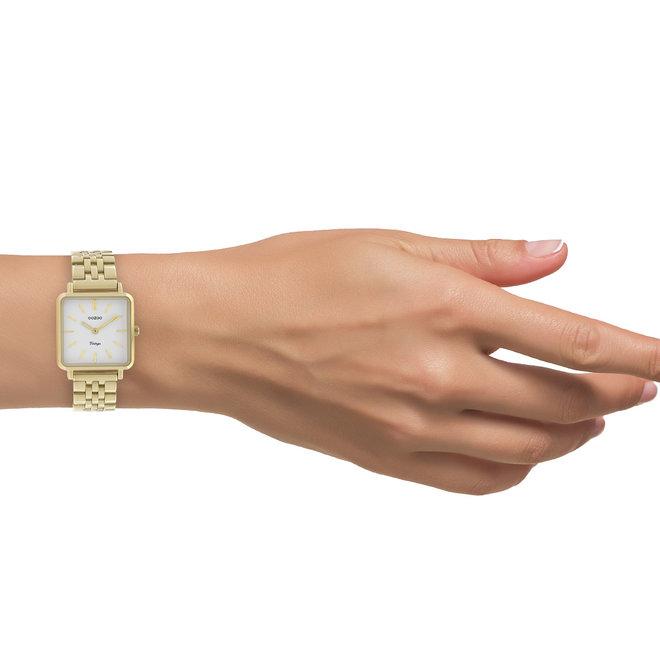 Vintage series - dames - stainless steel armband goud  met goud  horlogekast