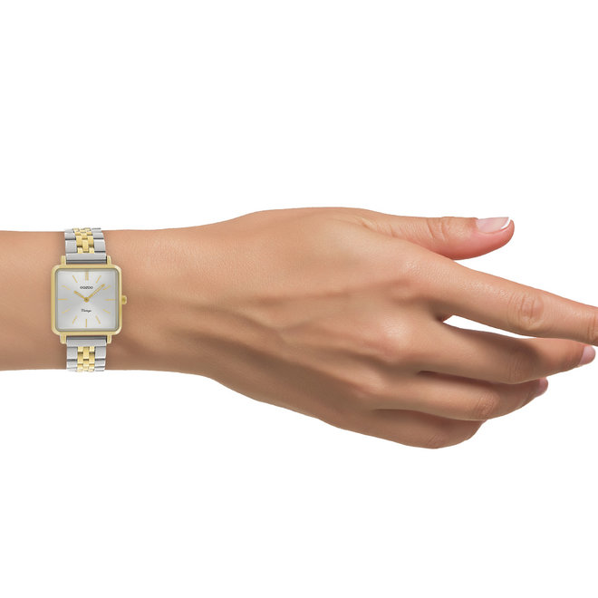 Vintage series - ladies - stainless steel bracelet silver-gold with gold  watch case