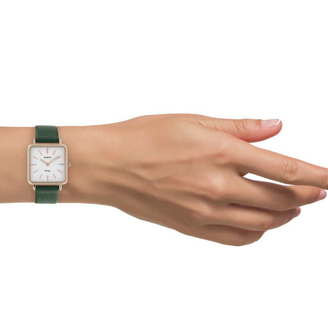 Vintage series - dames - leren band eden groen  met rosé goud  horlogekast
